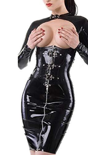 Envioues Frauen Wet Look Catsuit Kunstleder Dew Brust -
