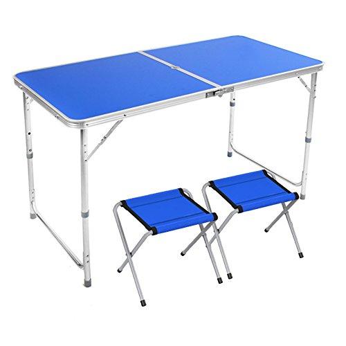 Table pliante YXX en Bois extérieure et chaises avec poignée et Jambes réglables de Taille et Trou de Parapluie de Soleil pour des Bureaux d'ordinateur de Camping