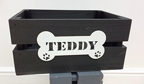 Wood Dog Pet Toy/Treats/Grooming Storage Box/Crate.BUSHEL BOX BLACK. 35cm L x 26cm W x 17cm 1