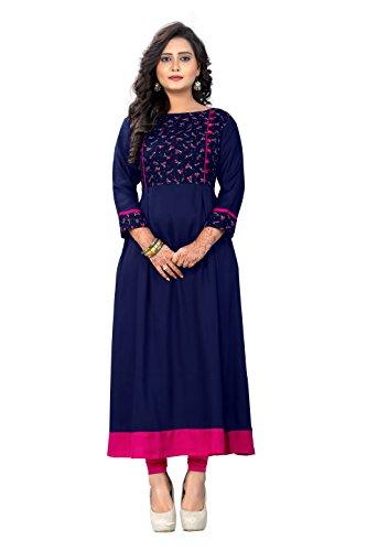 Vaikunth Fabrics Women's Blue Color Rayon Fabrics A-line Kurta (VF-KU-115-48)