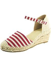 Sopily Zapatos de Moda Para Mujeres Alpargatas Sandalias - Tobillo-Alto - Cierre Elástico -