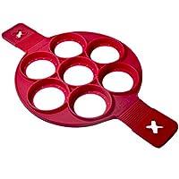 Moule à pâtisserie en silicone anti-adhésif compatible pour œufs, omelettes et crêpes, Forme ronde, rouge