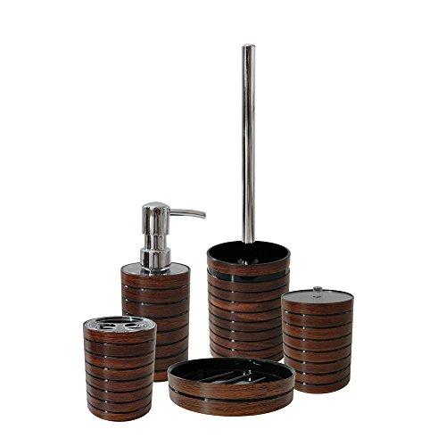 Hochwertiges schönes 5 Teiliges BADSET -Modell:MADERA-Holzoptik- Landhausoptik-Seifenspender - Wattepaddose - Zahnputzbecher - Seifenschale - WC-Bürste Material: MDF-AWD DESIGN-AWD02191006 /-05/04/-03/-02-Exclusiv Serie