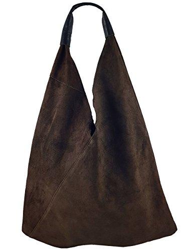 Damen Echtleder Shopper Trapez in vielen Farben und Metallic Schultertasche Henkeltasche Braun