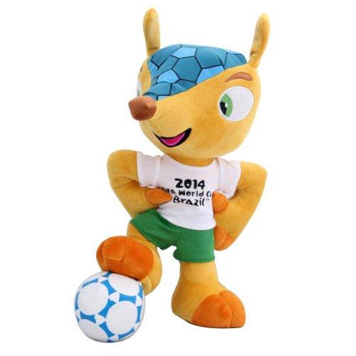 FIFA Fuleco - Peluche con balón de fútbol, diseño de Mundial de Brasil 2014 Talla:35 cm