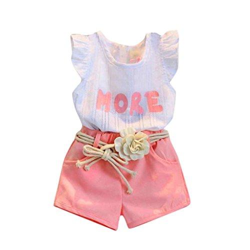 Kinder Kleidung Set, Sonnena Baby Mädchen Ärmellos Drucken Tops Weste T-Shirt +Rose Shorts Kurz Hose + Blumen Gürtel Outfits Set Babykleidung Kinderkleider für 2-6 Jahre (5 Jahre, Rose) (Detail T-shirt Kleid)