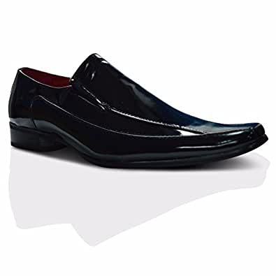 Xelay New Mens/Gents Black Tan Slip On Formal Shoes Normal Fitting. - Leather Lining - UK SIZES 6-12 (6 UK, black patent)