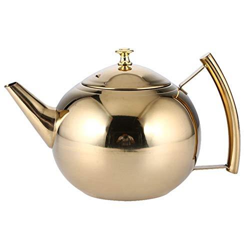 Théière Doré Pot de fleurs avec infuseur pour thé en vrac Café en acier inoxydable bouilloire à induction cuisinière Pot de thé Passoire Bureau Eau chaude Finition miroir 2L Pearl pot doré