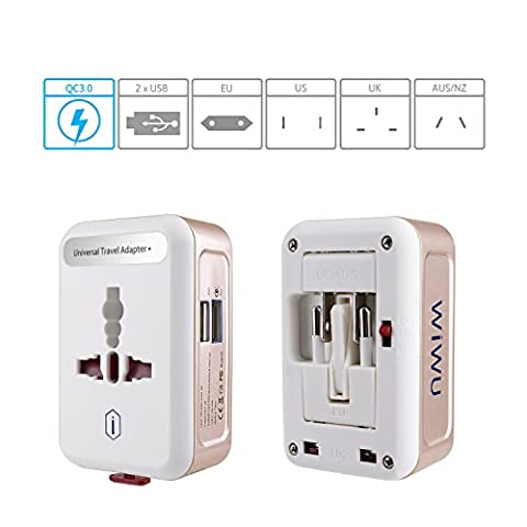 QC3.0 Universal Reiseadapter mit 2-Port USB Ladegerät, EKOOS Reisestecker Adapter 3 Polig 4 in 1 für 150 Länder Weltweit Universal (Erweiterte Sicherheitssystem)