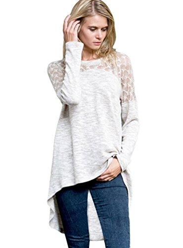 Dooxi Femmes Décontractée Col Rond Manches Longues Pull Sweats Élégant Irrégulier Dentelle Blouses T-Shirts Gris clair