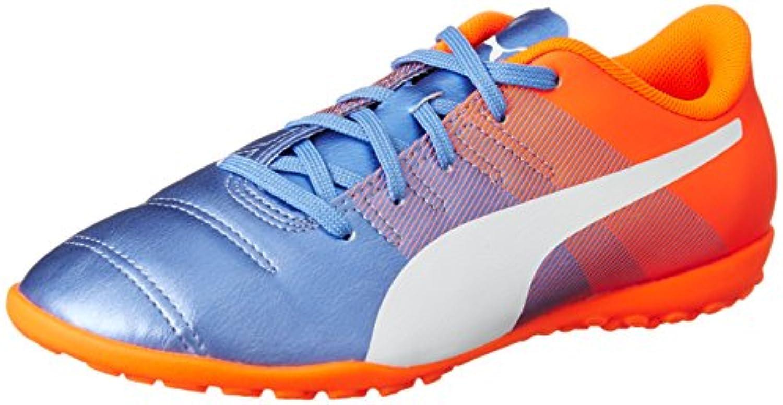 Puma Evopower 4,3 TT Jr Botas de Fútbol, Yonder White Blue/Orange Shocking, 13,5J