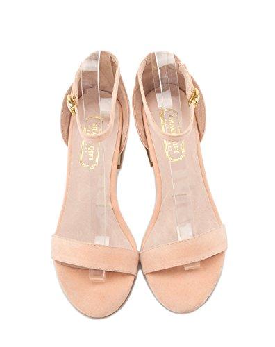 XY&GKMétallique élégant élégant avec un grossier Buckle Sandales femme Talon orteil d'été sandales pour femmes, confortable et belle 36 Powder Orange
