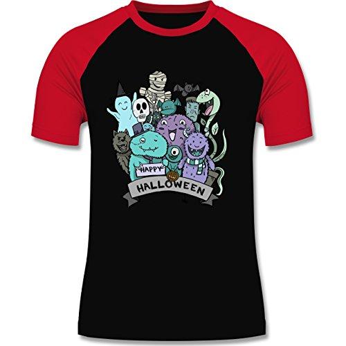 Halloween - Happy Halloween Monster - L - Schwarz/Rot - L140 - zweifarbiges Baseballshirt für (Männer Kostüme Beste Halloween Für Gruppe)