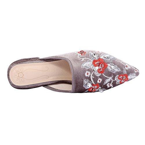 ENMAYER Frauen Slip-on Med Fersen Schuhe für Frauen Spitz Zehen-Quadrat Fersen Outdoor Casual Mule Schuhe Grau