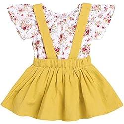 EDOTON T-Shirt Sangle Robe de Petite Fille Printemps Automne Robe à Manches Longues Robe Ébouriffer Haut Salopette Plaid Jupe Ensemble 1-5 Ans (2-3 Ans) (12-18 Mois, Blanc et Jaune)