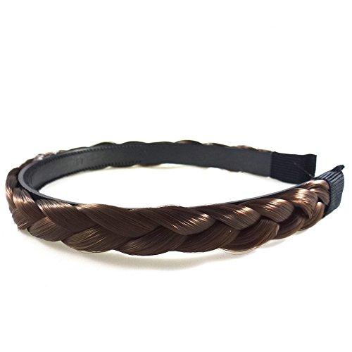 rougecaramel - Accessoires cheveux - Serre tête/headband tressé cheveux large - châtain