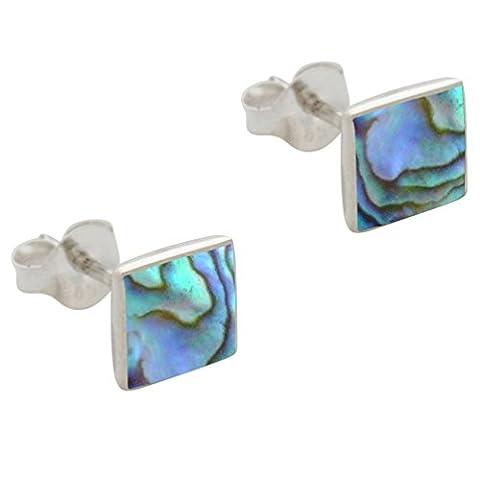 DTPsilver -Damen - Ohrringe 925 Sterling Silber und Abalone Paua Muschel Quadrat Ohrstecker