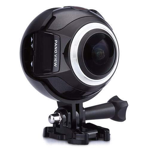 Cámara de acción impermeable inalámbrica de 360 grados 4 K HD para deportes de acción con cámara panorámica Mini DV para ciclismo, natación, snorkel, 0.02, color negro