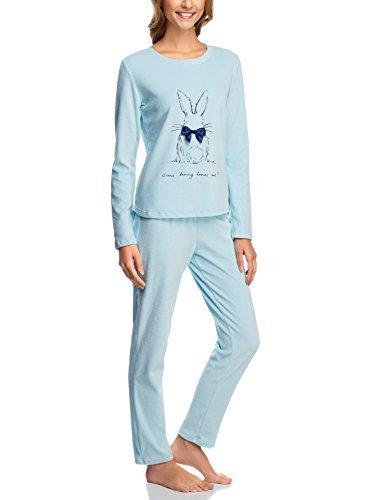 oodji Ultra Damen Pullover mit Rundhalsausschnitt und Hase Druck Blau (7029P)