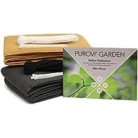 Purovi® Pantalla de privacidad para balcón   cubierta para protección de privacidad   Resistente al viento y rayos UV   Diferentes tamaños y colores   Beige - 500 x 90 cm