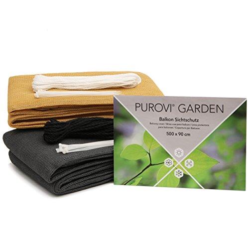 Purovi® Pantalla de privacidad para balcón | Cubierta para protección de privacidad | Resistente al Viento y Rayos UV | Diferentes tamaños y Colores | Antracita - 500 x 90 cm