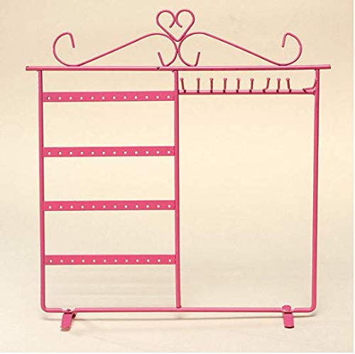 ROUHO 10 Crochets 48 Trous Boucles d'oreilles Collier Bijoux Display Rack Support Stand-Rose