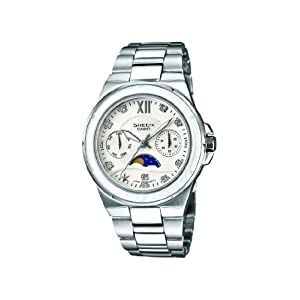 Sheen Women's Quartz Watch with White Dial Analogue Display and Silver Stainless Steel Bracelet SHE-3500D-7AER