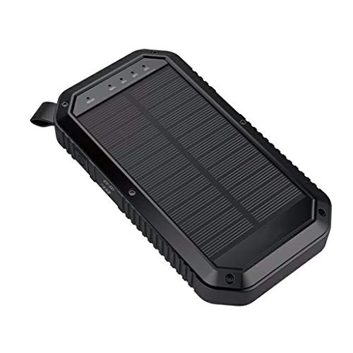 schnelles Ladegerät Kabelloses, Wireless Charger Charging Holder Stand Solar Power Bank Tragbares Solar Qi Wireless Ladegerät 20000mAH mit 3USB 3LED (Black)