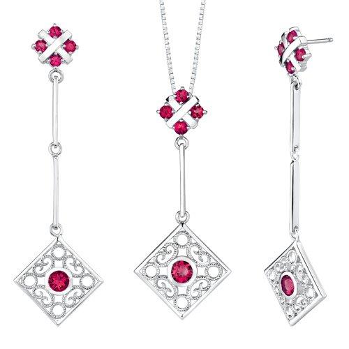 Revoni Round Shape Ruby Pendant Earrings Set in Sterling Silver
