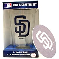 San Diego Padres 16-Ounce Pint Glass & 4 Coasters Gift Set