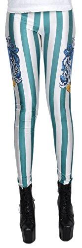 erdbeerloft - Damen Mädchen Leggins Leggings Slytherin Print, One Size S-M-L, (Mädchen Slytherin Kostüme)