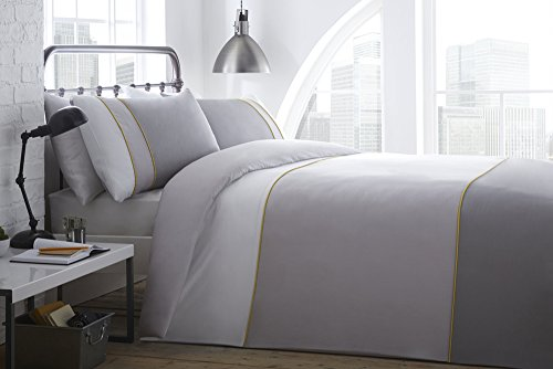Racing Green Lawson 100% Cotton Duvet Cover Set, White/Grey, King