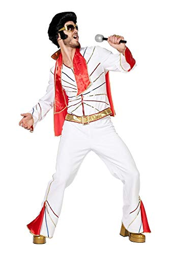 shoperama Rockstar Kostüm Elvis Jacke Hose Schal King of Rock 'n' Roll 50er 60er 70er Jahre Pailletten Las Vegas Aloha, Größe:54