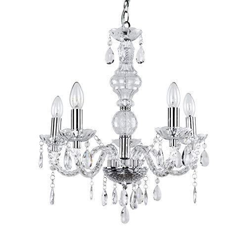 [lux.pro] Kronleuchte Modernes Design verchromte Decken Leuchte aus Metall & Kunst Kristall Ø 52 cm Leuchte 5 x E14 Sockel stilvolle Deckenlampe für Wohnzimmer & Schlafzimmer