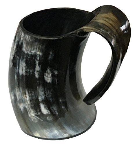 Horn Becher Viking Trink Schalen Ale Bier Rotweinkelch Game of Thrones Krug Mead Mittelalterlich Jute Geschenk Wasserglas OX Horn Becher Gefäßen Echt Handgefertigt aus Handicrafts Home – Natürlich, M