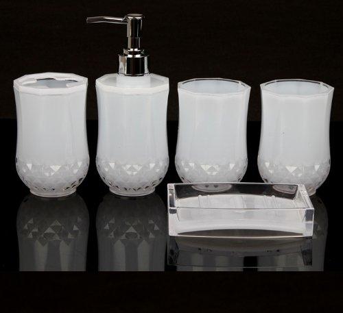 5pc set acrylic bathroom accessories bathroom set glamarous white amazoncouk kitchen home - White Bathroom Accessories Uk