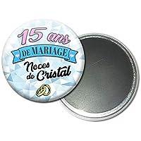 Magnet Aimant 5,6 centimètres 15 Ans de Mariage Noces de Cristal Idée Cadeau Accessoire Accessoire Anniversaire Mariage Couple