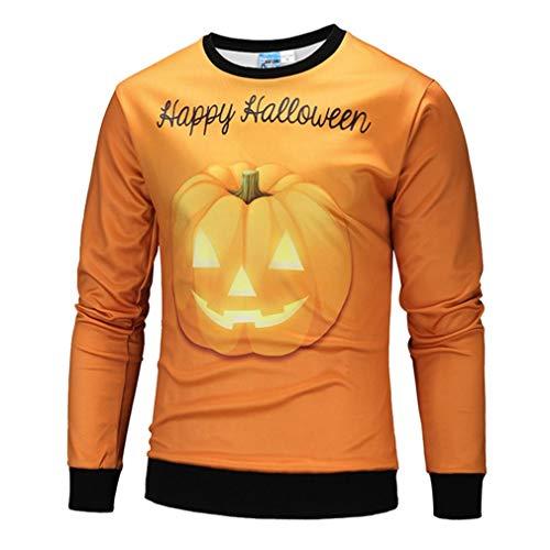 (keepwin Scary Halloween Kürbis Gesicht 3D Printed Männer Casual Tops Bluse Party Langarm Pullover Hoodie(L,Orange))