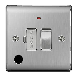 BG Nexus NBS Range Brushed Steel Switches & Sockets - Full Range of Matching Items (13 Amp Switched Spur Unit with Flex Out + Neon)