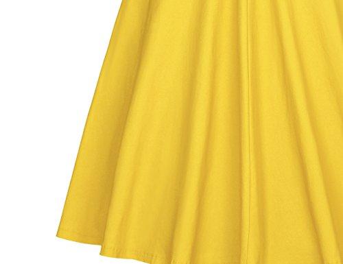 MUXXN Vestito anni '50 Donna Elegante Cerimonia Cocktail Floreale Abito Abiti Vintage Yellow