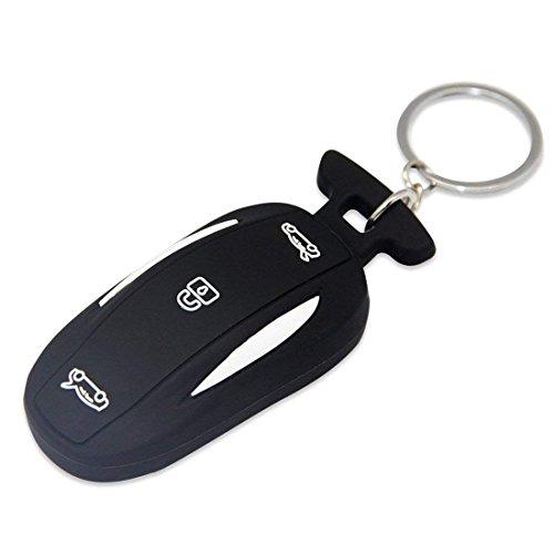 TeslaWorld Schwarz Silikon Gummi Auto Schlüsselanhänger Schlüsselanhänger/Fernbedienung Keyless Entry Halterung für Tesla Modell X