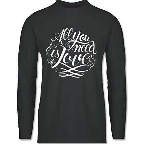 Statement Shirts - All you need is love Lettering - Longsleeve / langärmeliges T-Shirt für Herren Anthrazit