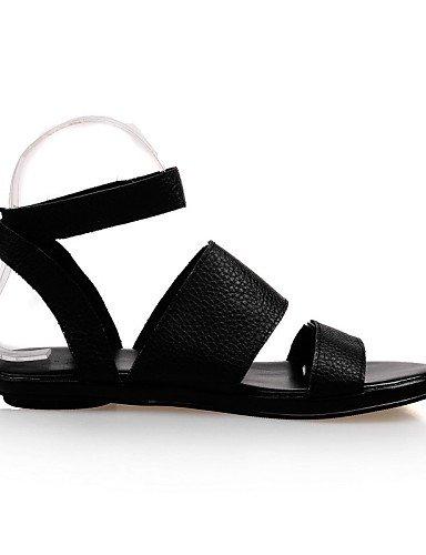 UWSZZ IL Sandali eleganti comfort Scarpe Donna-Sandali-Tempo libero / Formale / Casual-Aperta-Piatto-Finta pelle-Nero / Bianco Black