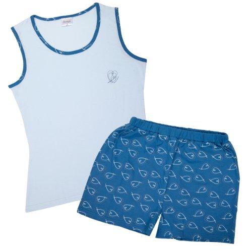 PYJAMA pour femme avec manches doux et agréable au toucher en 100%  coton Bleu - Bleu clair/bleu