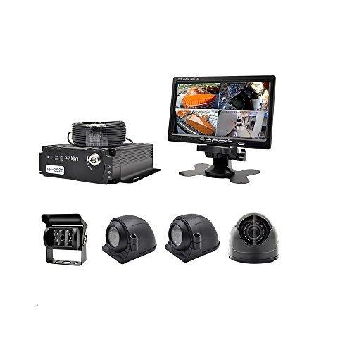 wenichen MDVR Kit für Bus Truck Auto Sicherheit–960P 4CH SD Karte Handy DVR Video Recorder + 4x 720P vorne Seite hinten View Kameras + 17,8cm TFT LCD Color Monitor + 4Kabel (2018Neue Version)