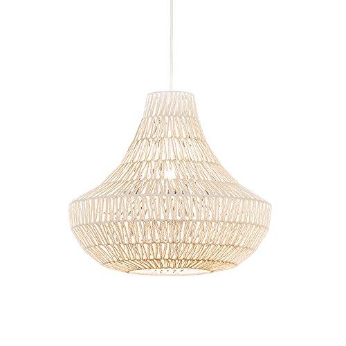QAZQA-Design-Modern-Esstisch-Esszimmer-Pendelleuchte-Pendellampe-Hngelampe-Lina-Cono-50-wei-Metall-Textil-Rund-LED-geeignet-E27-Max-1-x-60-Watt