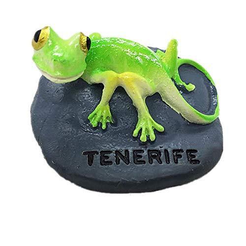 MUYU Magnet Chameleon of Tenerife - Imán para Nevera en 3D, colección de Regalo de Recuerdo, decoración para el hogar y la Cocina, imán para Nevera Tenerife España