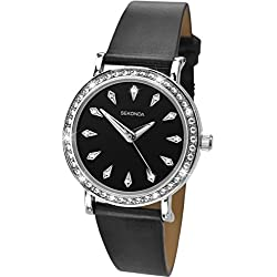 Sekonda Editions Stone Set Dial Black Upper Leather Strap Ladies Watch 2025