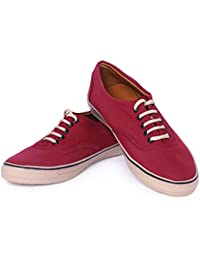 Mykon Maroon Lace-up Casual Shoes For Mens