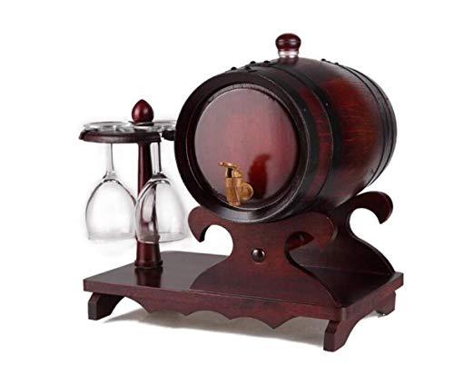 QWE Weinregal, 5-Liter-Eichenfass, Weinglashalter, WHI-Bulk-Weinmaschine, Rum, Tequila, Bier Usw.Bar Ist Der Beste Service,Antike Farbe,A - 5-liter-eichenfass